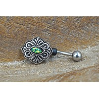 Multi Color Opal Boho Belly Button Ring