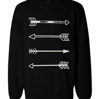 Tribal Arrows Men's Black Graphic Sweatshirt