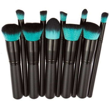 2017 10PCS Professional Makeup brushes set Concealer Face Powder Foundation Eyeshadow brush Pinceis de maquiagem Black