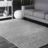 Hand Woven Chunky Woolen Cable Rug
