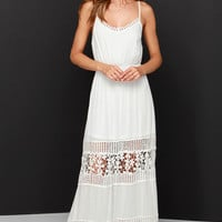 Vision to Behold Ivory Lace Maxi Dress