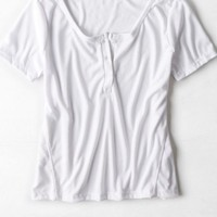 AEO Women's Don't Ask Why Ribbed Henley T-shirt