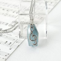 Music Necklace, Blue Kyanite Raw Stone Pendant with G Clef Note Charm, Gift For Musician Girl