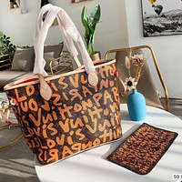 Louis Vuitton LV Fashion New Women's Lettering Graffiti Print Two-Piece Shopping Tote