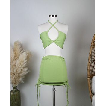 Ribbed Knit Halter Ruched Skirt Set in Green