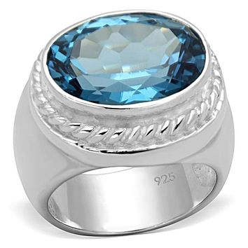 Silver Wedding Rings LOS732 Silver 925 Sterling Silver Ring with Synthetic