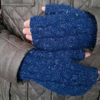 Mens dark blue,Knitted gloves, hand knitted, valentines day knitted, gloves, gloves mens noel gift gloves,