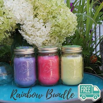 Mosquito Repellent Candle Natural Rainbow Bundle | Set of 3 Multi-Scent | Soy-Base, Lavender, Rosemary & Sage, Lemongrass | Made in USA