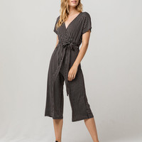 POLLY & ESTHER Stripe Black & White Surplice Womens Jumpsuit