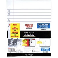 Mead Five Star Reinforced College Ruled Filler Paper, 11 x 8 1/2, 100 Sheets (17010) | Staples