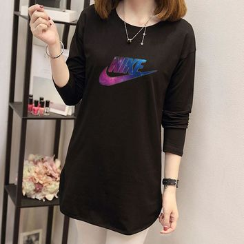 """""""Nike"""" Women Casual Fashion Galaxy Letter Print Long Sleeve T-shirt Irregular Middle Long Section Bottoming Tops"""