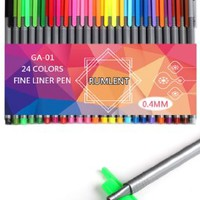 Rumlent GA-01 Pack of 24 Colors Fine Point Fineliner Pen,Coloring Drawing & Art Supplies Marker,Needle Tip 0.4mm