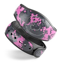 Pink V3 and Gray Digital Camouflage - Decal Skin Wrap Kit for the Disney Magic Band