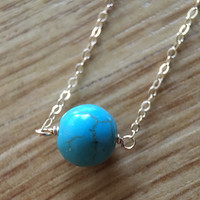 Turquoise bead solitaire gold necklace / bridesmaid necklace / minimalist necklace / dainty necklace / birthstone necklace