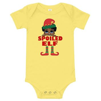 Spoiled Elf Infant Boy Baby Onesuit Bodysuit African American Family Christmas