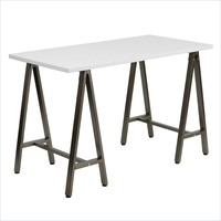 Flash Furniture Computer Desk with Brown Frame in White - NAN-JN-2834W-WH-GG