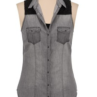 Lace Trim Sleeveles Washed Denim Top - Gray