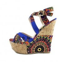 Pazzle Flamingo Criss Cross Blue Multi color Strappy Wedge wowtrendz