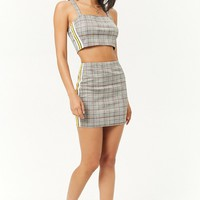 Glen Plaid Side-Striped Crop Cami