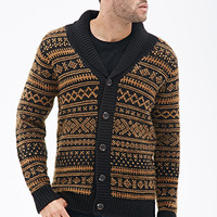 Geo-Patterned Shawl Collar Cardigan Black/Mustard