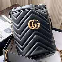 GUCCI New fashion leather chain bucket bag shoulder bag crossbody bag handbag Black