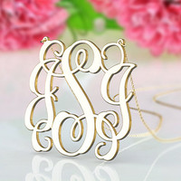 Large 1.5 inch monogram plated in gold necklace-- 3 initial name pendant customized necklace