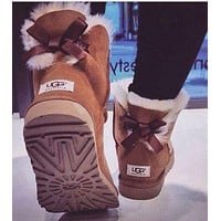 """""""UGG""""Winter Classic Fashion Women Warm Wool Snow Boots Brown I/A"""