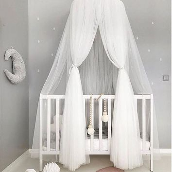 JY79 Canopy Bed Mosquito Net Decoration Home Bed Curtain Round Crib Netting Baby Tent Light Chiffon Yarn Hung Dome Mosquit Net