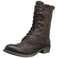 Rbls Womens Lorena Textured Distressed Combat Boots