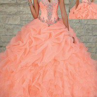 HOT!New Style Beaded Long Prom Ball Gown Quinceanera Wedding Dresses Custom Size