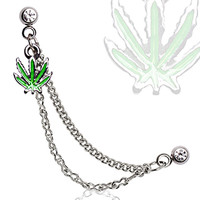 316L Surgical Steel Double Chained Cartilage Earring with Pot Leaf
