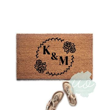Floral Personalized Couples Initials Doormat