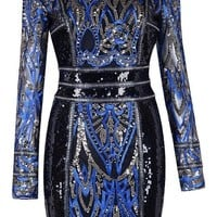 Midnight Blue Sequins Bodycon Dress