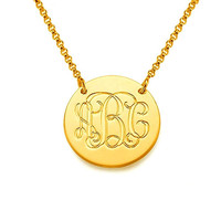 Gold Monogram Necklace 14K Necklace- 0.8 Custom Made Initials Monogrammed Necklace Monogram Name Jewelry, nameplate, gift ideas for her