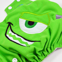 Green School Monster *PRE ORDER*Embroidered, One Size, Pocket Cloth Diaper