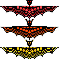 Halloween bats. Beautiful, modern cross stitch pattern of a colony of bats in a contemporary tribal style. Contemporary cross stitch design.