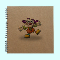 Clown Art- Book, Large Journal, Personalized Book, Personalized Journal, Scrapbook, Smashbook