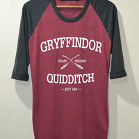Gryffindor Quidditch Shirt Harry Potter Shirts Raglan 3/4 Sleeve Size S M L