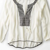 AEO Women's Embroidered Gauze Peasant Top