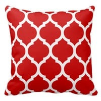 Red White Moroccan Quatrefoil Pattern Pillows