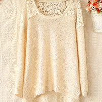 ROUND COLLAR HOLLOW-OUT CROCHET STITCHING SEQUINS SWEATER