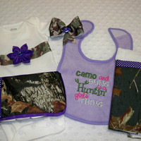 Camo and Purple 5 Piece Baby Girl Camo Gift Set - Includes Camo Flower Onesuit, Camo Wipe Case, Camo Purple Cloth, Camo Hair Bow and Bib