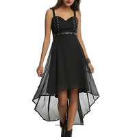Royal Bones By Tripp Studded Belt Hi-Low Hem Dress