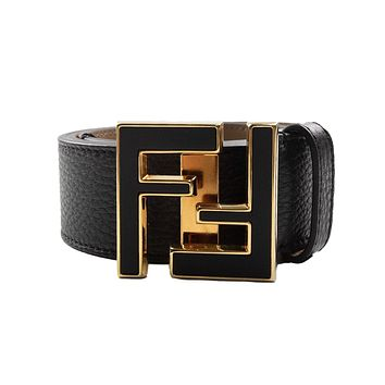 Fendi FF Gold Logo Leather Belt Black