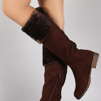 Bamboo Suede Fur Cuff Riding Knee High Boots