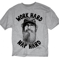 Duck Dynasty Si Robertson Commander Work Hard Nap Hard Adult Heather Gray T-Shirt