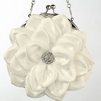 White Flower Purse with detachable Chain