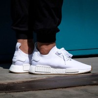 Best Online Sale Adidas NMD R1 PK - Footwear White / Gum Boost Sport Running Shoes Classic Casual Shoes Sneakers