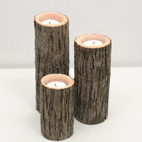 Tree Branch Candle Holders I- Rustic Wood Candle Holders, Tree Bark, Wooden Candle Holders