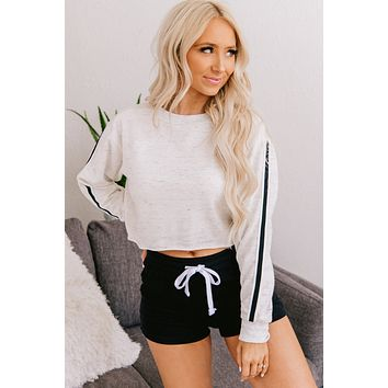 Adventuring Out Cropped Crewneck Top (Oatmeal)